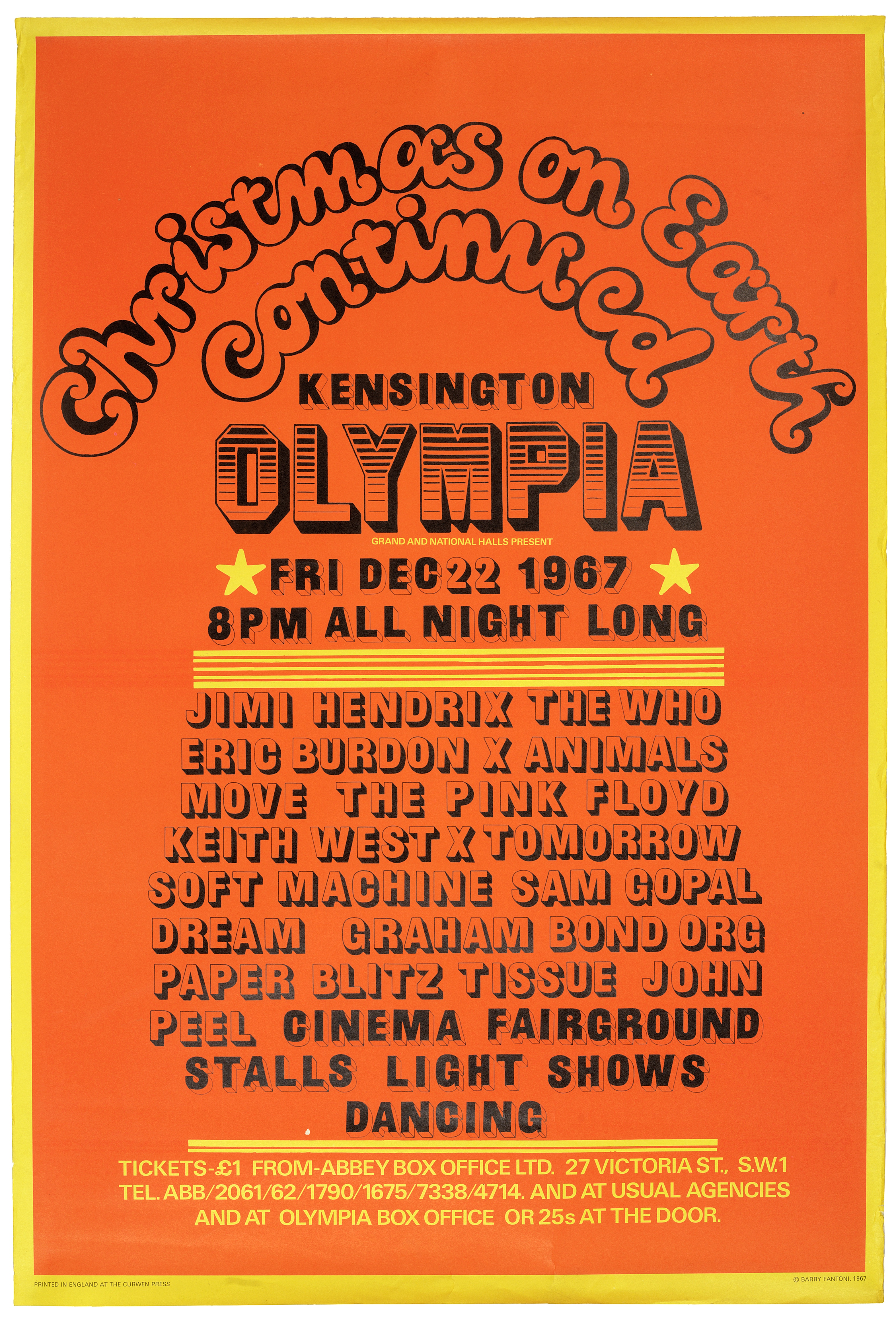 Lot 55 - The Jimi Hendrix Experience: A 'Christmas On Earth Continued' concert poster, Olympia, London, 22...