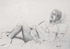 Giacomo Manzù (Bergamo 1908 – Ardea 1991)Liegende, 1972;Tinte u. Bleistift auf Papier, 52 x 71