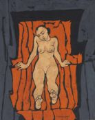 Felice Casorati (Novara 1883 – Turin/Torino 1963)Nudino arancione, 1962;Tempera auf Papier auf