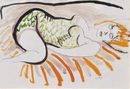Renato Guttuso (Bagheria 1911 – Rom/Roma 1987)Liegende;Aquarell u. Tusche auf Papier auf Leinwand