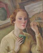 Guglielmo Janni (Rom/Roma 1892 – 1958)Porträt einer Malerin (Pasquarosa Marcelli?);Öl auf Holz, 59 x