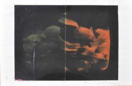 Mario Schifano (Al-Chums 1934 – Rom/Roma 1998)Prodotti;Mischtechnik auf Papier auf Karton kaschiert,