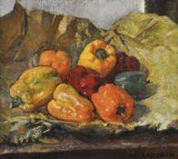 Guido Cadorin (Venedig/Venezia 1892 - 1976)Stillleben mit Paprika, 1934;Öl auf Leinwand, 51,5 x 57