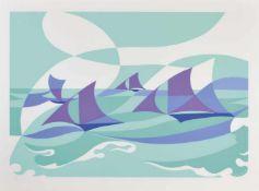 Giacomo Balla (Turin/Torino 1871 – Rom/Roma 1958)Linee forza di mare, 1919/1982;Farbserigraphie,