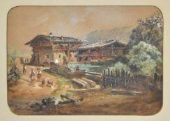 Karl Vinzenz Moser (Bozen/Bolzano 1818 – 1882)Hof in Astfeld, Sarntal, 1863;Gouache, 18,7 x 26 cm,
