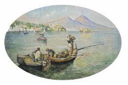 Salvatore Petruolo (Catanzaro 1857 – Neapel/Napoli 1942)Fischer vor Vesuv;Aquarell, 31,3 x 48 cm