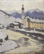 Ulderico Giovacchini (Florenz/Firenze 1890 – Bozen/Bolzano 1965)Dolomitendorf im Winter;Öl auf