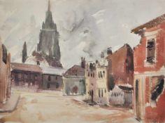 Erwin Lutz-Waldner (Meran/Merano 1912 – Innsbruck 1975)Calais, 1940;Aquarell, 28,5 x 39 cm, Papier