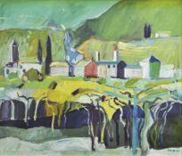 Erich Kraus (Innsbruck 1934 – 2015)Süditalienische Landschaft; Öl auf Leinwand, 47 x 56,5 cm