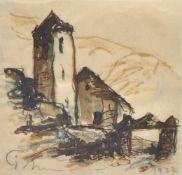 Josef Mahlknecht (Bozen/Bolzano 1886 – Meran/Merano 1953)Kapelle im Vinschgau, 1937;Tusche,