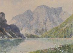 Rudolf Kargl (Wien/Vienna 1878 – Mödling 1942)Pragser Wildsee;Aquarell, 20 x 28 cm, gerahmt Signiert