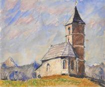 Josef Meng (Heideck 1887 – Kufstein 1974)Kirchlein bei Kufstein, 1964;Aquarell, Buntstifte, 15,5 x