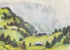 Hubert Mumelter (Bozen/Bolzano 1896 – 1981)Schlern;Aquarell, 35,5 x 50 cm, gerahmt Signiert