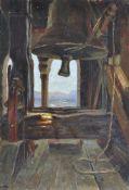 Maler um 1910 (Mailand/Milano 1901 – 1979)Blick vom Kirchturm in Algund gegen den Gantkofel;Öl auf