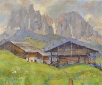 Rolf Regele (Bozen/Bolzano 1899 – 1987)Dolomitenlandschaft;Öl auf Leinwand, 74 x 88 cm, gerahmt