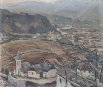 Sieghilde Pirlo-Hödl (Kufstein 1905 – 1978)Blick von St. Magdalena auf Bozen;Öl auf Leinwand, 45 x