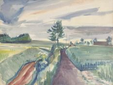 Emanuel Fohn (Klagenfurt 1881 – Bozen/Bolzano 1966)Landschaft in Frankreich;Gouache, 48,7 x 62,8 cm,
