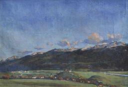 Gustav Bechler (München/Monaco di Baviera 1870 – Innsbruck 1959)Blick auf Arzl und den Glungezer;
