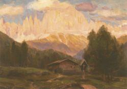 Richard Wolff (Esseg 1880 – Bozen/Bolzano 1964)Rosengarten im Abendrot;Öl auf Karton, 31 x 43 cm,
