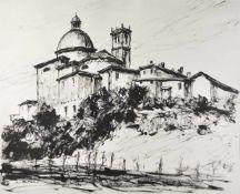 Lois Alton (Krumau 1894 – Innsbruck 1972)Kirche in Italien;Tusche auf Papier, 48 x 57,8 cm,