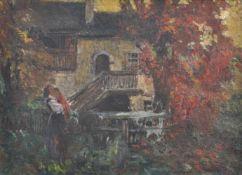 Orazio Gaigher (Levico 1870 – Meran/Merano 1938)Südtiroler Bauernhof im Herbst;Öl auf Leinwand, 55,5