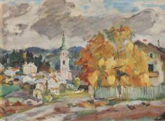 Emanuel Fohn (Klagenfurt 1881 – Bozen/Bolzano 1966)Kastelruth, um 1950;Öl auf Karton, 37 x 49,5