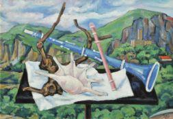 Remo Wolf (Trient/Trento 1912 – Trient/Trento 2009)Stillleben in Castel Drena, 1975;Öl auf