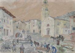 Oskar Laske (Czernowitz, Bukowina 1874 – Wien/Vienna 1951)Dorfplatz in Oberitalien (Selva);