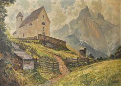 Robert Zinner (Wien/Vienna 1904 – München/Monaco 1988)Kapelle auf der Seiseralm;Öl auf Karton, 64