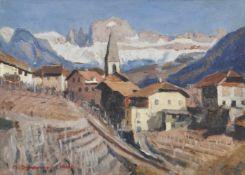 Max Sparer (Söll, Tramin/Termeno 1886 – Bozen/Bolzano 1968)St. Magdalena mit Rosengarten, 1940;Öl