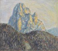 Hans Prünster (Riffian/Rifiano 1907 – Bozen/Bolzano 2005)Langkofel;Mischtechnik auf Karton, 51,5 x