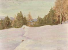 Max Angerer (Schwaz 1877 – Schwaz 1955)Tiroler Winterlandschaft;Öl auf Karton, 24 x 32,5 cm, gerahmt