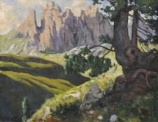 Max Sparer (Söll, Tramin/Termeno 1886 – Bozen/Bolzano 1968)Dolomitenlandschaft;Öl auf Leinwand, 88,5