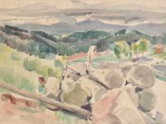Emanuel Fohn (Klagenfurt 1881 – Bozen/Bolzano 1966)Landschaft bei Kastelruth, um 1950;Aquarell, 32,5