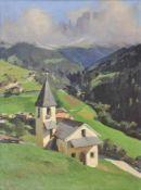 Ulderico Giovacchini (Florenz/Firenze 1890 – Bozen/Bolzano 1965)S. Zyprian mit dem Rosengarten;Öl