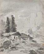 Carl Millner (Mindelheim 1825 – München/Monaco di Baviera 1895)Gebirgslandschaft mit Almhütten;