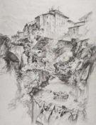 Heinrich C. Berann (Innsbruck 1915 – Lans 1999)Le Trans en Provence, 1971;Kohle auf Papier, 59,9 x