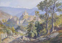 Leopold Welleba (Wien/Vienna 1878 – 1953)Schloss Sigmundskron bei Bozen, um 1910;Gouache, 20 x 30