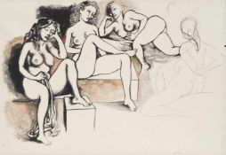 Renato Guttuso (Bagheria 1911 – Roma 1987)Weibliche Akte, um 1970;Bleistift, Tusche u. Aquarell