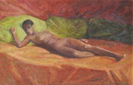 Nino Bertoletti (Rom/Roma 1889 – 1971)Liegender weiblicher Akt, 1954;Öl auf Karton, 55 x 84,5