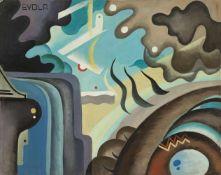 Julius Evola (Rom/Roma 1898 – 1974)Ohne Titel, 20er Jahre ca.;Öl auf Karton, 41,5 x 52 cm Signiert