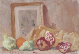 Felice Carena (Cumiana 1879 – Venezia 1966)Frutta e immaginetta, 1965;Öl auf Leinwand, 35 x 50 cm,