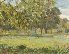 Giovanni Korompay (Venedig/Venezia 1904 – Rovereto 1988)Landschaft;Öl auf Holz, 38,5 x 49,5 cm