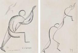 "Roberto Iras Baldessari (Innsbruck 1894 – Rom/Roma 1965)Studie zu ""L'arrampicata, 2"",um 1920;"