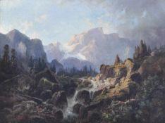 Karl (Vinzenz) Moser d. Ä. (Bozen/Bolzano 1819 – 1882)Dolomitenlandschaft;Öl auf Leinwand, 41 x 52,5