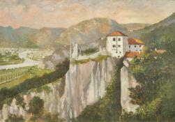 Hermann Preyer (Innsbruck 1866 – 1914)Die Haselburg mit Blick auf Bozen;Öl auf Karton, 67,5 x 97 cm,