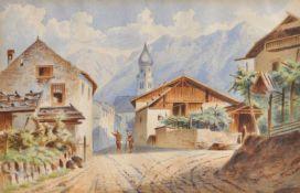 Wilhelm Settari (St. Pankraz im Ultental/ 1841 – Meran/Merano 1905)Ulten;Aquarell, 17,5 x 28 cm,