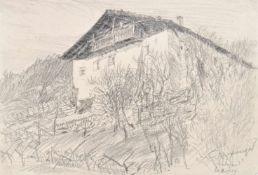 Hugo Atzwanger (Feldkirch 1883 – Bozen/Bolzano 1960)Hof in Südtirol, 1929;Bleistift, 14 x 20 cm