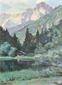 August Frech (Steinach am Brenner 1875 – Innsbruck 1949)Wiesensee am Fuß der Loferer Steinberge,