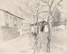 Hugo Atzwanger (Feldkirch 1883 – Bozen/Bolzano 1960)Dorf in Südtirol, 1929;Bleistift, 29,5 x 36 cm